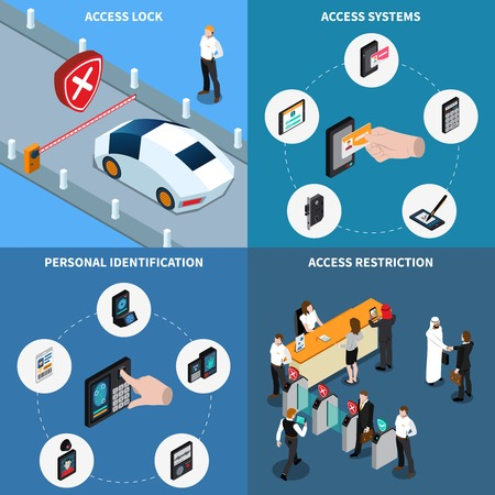 Access lock, personal identification, protection systems and admission restriction, isometric design concept, isolated vector illustration Archivio Fotografico - 101855787