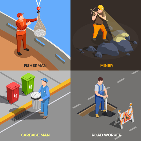 Worker professions isometric 2x2 design concept with modern urban job compositions with human characters and text vector illustration