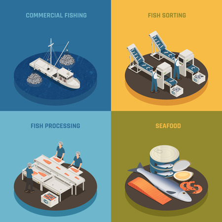 Fish industry seafood production isometric 2x2 design concept with fishing vessels plant facilities and food with text vector illustration