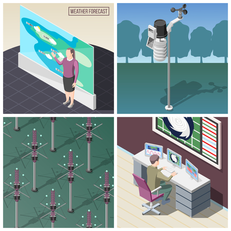 Weather prediction, forecaster at work, wind measurement device, reflectors of radio signals, isometric concept isolated vector illustration Çizim