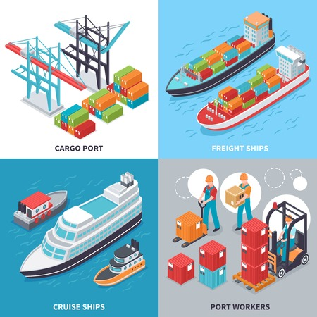 Isometric 2x2 design concept with freight and cruise ships and sea port workers isolated on colorful background 3d vector illustration