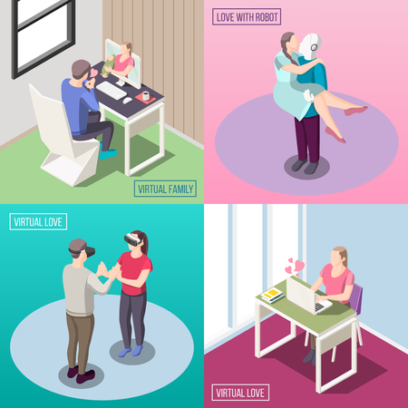 Virtual family, electronic love, human and robot relation, vr romantic date, isometric design concept isolated vector illustration