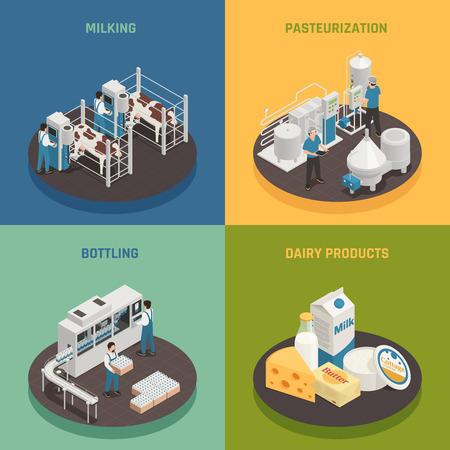 Concepto de diseño isométrico 2x2 de la fábrica de leche de producción láctea con composiciones que representan diferentes etapas de la ilustración de vector de producción láctea