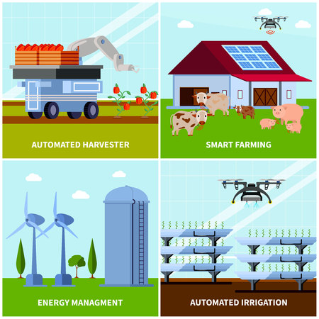 Smart farming with unmanned harvester, automated irrigation, energy management, orthogonal flat design concept, isolated vector illustration Illustration