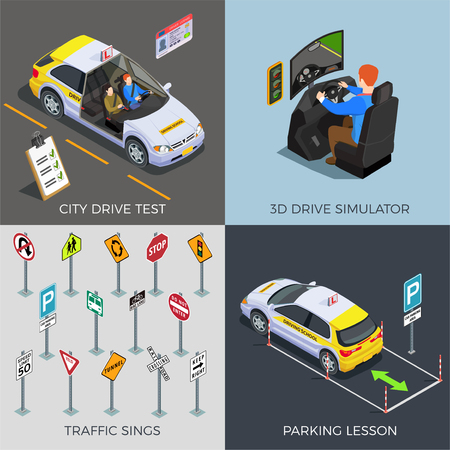 Driving school isometric 2x2 design concept with compositions of traffic signs drive simulators cars and text vector illustration Illustration