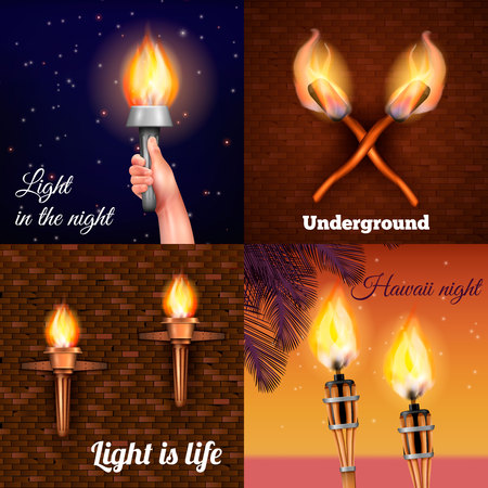 Torch realistic 2x2 design concept with four colourful compositions of burning torch on different backgrounds vector illustration