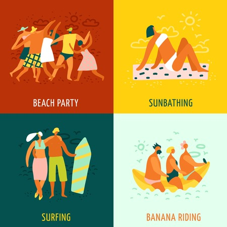People sunbathing surfing and having fun on beach 2x2 design concept isolated on colorful background flat vector illustration