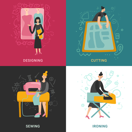 Garment factory 2x2 design concept set of designing cutting sewing ironing flat square icons vector illustration