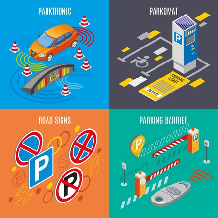 Isometric parking icon set with parktronic parkomat road sings and parking barriers descriptions vector illustration Ilustração