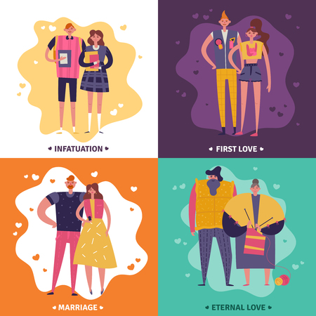 Life cycles of man and woman 2x2 design concept set of infatuation first love marriage and eternal love square icons flat vector illustration
