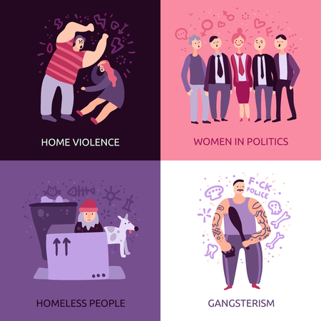 Social problems 2x2 design concept set of home violence gangsterism homeless people women in politics square icons flat vector illustration