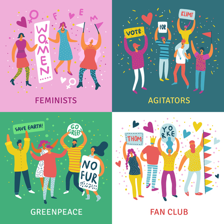 People parade 2x2 design concept set of feminists agitators greenpeace and fan club square icons flat vector illustration