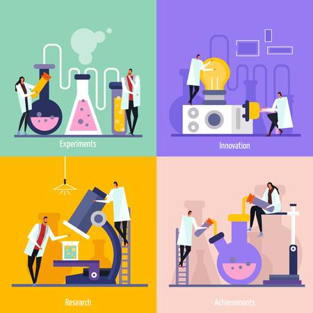 Concetto di design piatto del laboratorio di scienza con esperimenti, innovazione, ricerca e illustrazione vettoriale isolato risultato Vettoriali