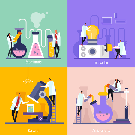 Science lab flat design concept with experiments, innovation, research and achievement isolated vector illustration