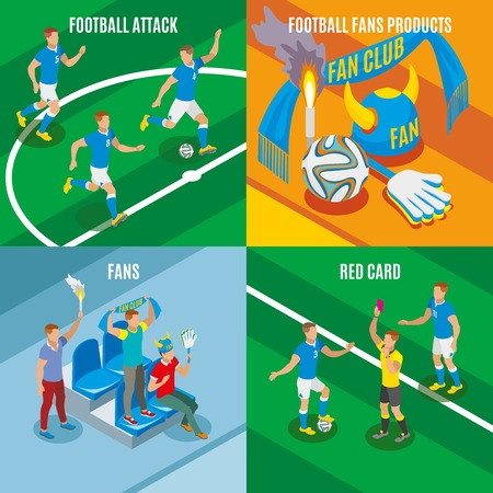 Football 2x2  design concept set of football attack red card fans products isometric compositions vector illustration