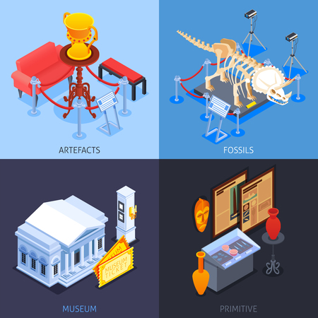 Museum isometric 2x2 design concept with compositions of museum collection images with specimen and text captions vector illustration