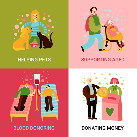Charity types 2x2 design concept set of helping pets supporting aged blood donoring and donating money square icons flat vector illustration