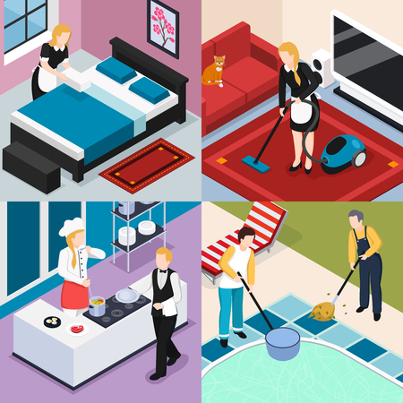 Home staff 2x2 design concept set of people engaged in cleaning washing cooking and routine work isometric vector illustration