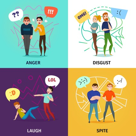People and emotions concept icons set with laugh and anger symbols flat isolated vector illustration