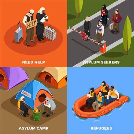 Stateless refugees asylum icons isometric 2x2 design concept with human characters of displaced persons and text vector illustration Illustration