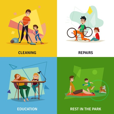 Fatherhood concept icons set with cleaning symbols flat isolated vector illustration