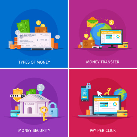 Financial technology flat orthogonal colorful icons square concept with online payments money transfer security isolated vector illustration