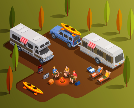Camping hiking isometric icons composition with motor home trailers paddle boats and human characters with campfire vector illustration