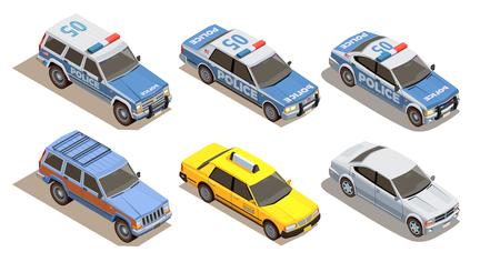 Isometrische Zusammensetzung des öffentlichen Stadtverkehrs mit Satz von sechs Autos mit drei Arten von Karosserievektorillustration Vektorgrafik