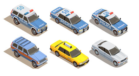 Public city transport isometric composition with set of six cars with three kinds of car bodies vector illustration
