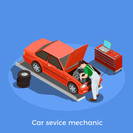 Worker professions isometric background with human character of automotive repairman motor vehicle mechanic with car image vector illustration