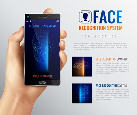 Face identification background with image of facial scanner smartphone app human hand and editable text description vector illustration Illustration