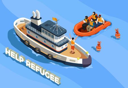 Composition isométrique d'icônes d'asile de réfugiés apatrides avec paysage de mer de texte et navire avec illustration vectorielle de réfugiés immigrés