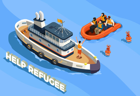 Stateless refugees asylum icons isometric composition with text sea landscape and ship with refugee immigrant people vector illustration