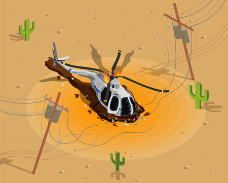 Airplanes helicopters isometric composition with desert scenery and burning helicopter near broken electric power transmission line vector illustration