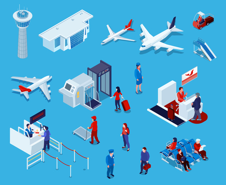 Airport isometric icons set of reception and passport check desk waiting hall control tower ladder isolated vector illustration