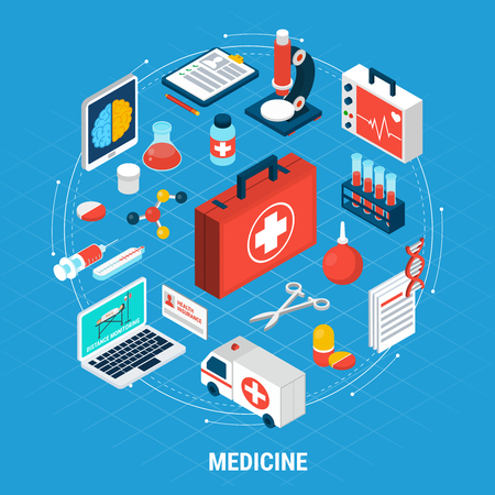 Medicine isometric concept with medical equipment for treatment and diagnostics on blue background 3d vector illustration Stockfoto - 101855988