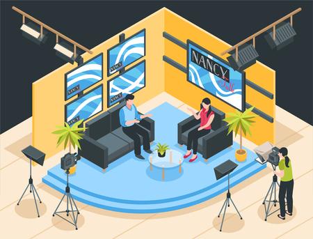 Talk show shooting in tv studio 3d isometric vector illustration