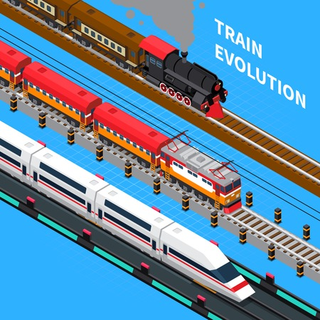 Train evolution from retro to rail road vehicle of future isometric composition on blue background vector illustration