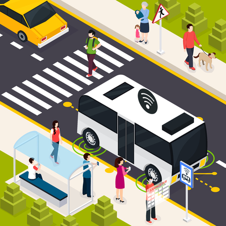 Autonomous vehicle isometric composition with pedestrians on crosswalk passenger on public transport stop waiting unmanned bus vector illustration