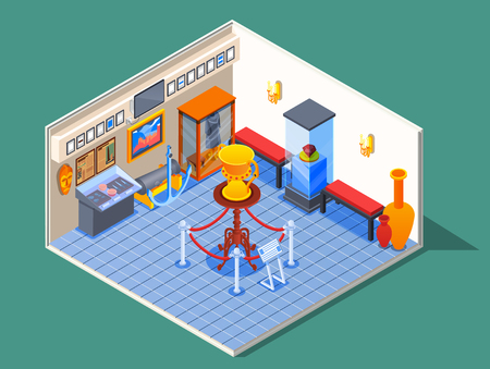 Museum isometric composition with view of museum room with specimen pictures and pieces of antique furniture vector illustration 向量圖像