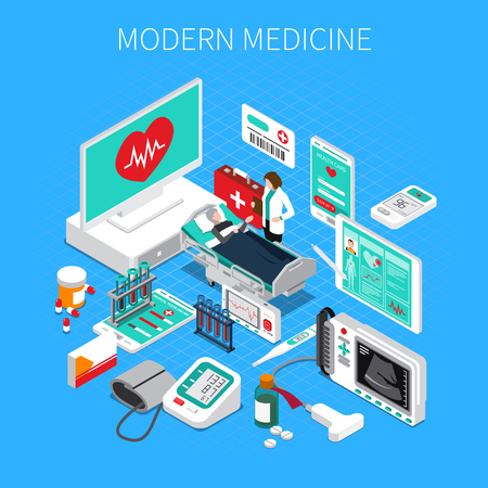 Modern medicine isometric composition on blue background with doctor and patient, medical devices and drugs vector illustration