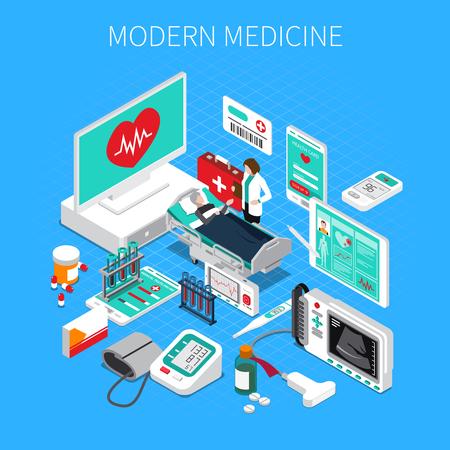 Izometryczny skład współczesnej medycyny na niebieskim tle z ilustracji wektorowych lekarza i pacjenta, wyrobów medycznych i leków