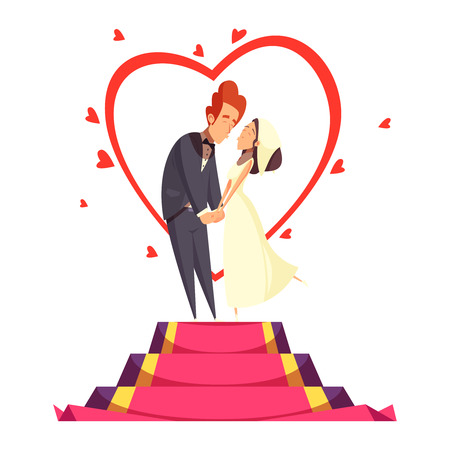 Newlyweds during bridal kiss on pedestal with red carpet and decoration from hearts cartoon composition vector illustration