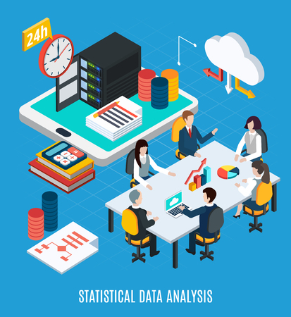 Data analysis isometric background with business team discussing statistical web information at common table vector illustration Illustration