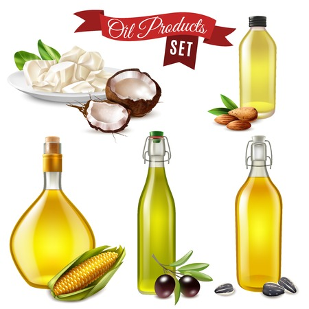 Realistic oil product set of coconut almond sunflower olive and corn oil bottled in glass dish vector illustration Ilustracja