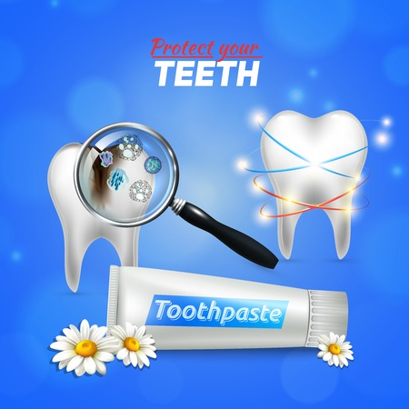 Preventive dental and oral care realistic composition poster with anti-cavity anti-bacterial chamomile toothpaste vector illustration