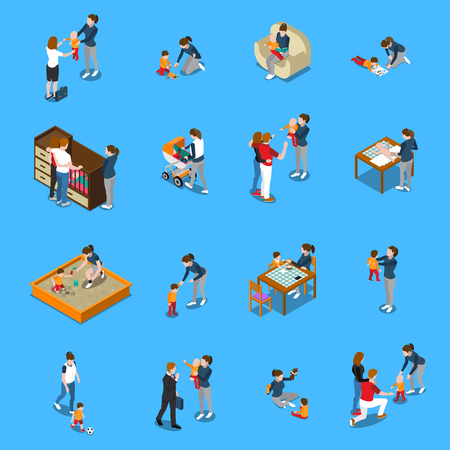 Babysitter während der Kinderbetreuung, Eltern, die für Arbeit verlassen, isometrische Leute auf blauem Hintergrund isolierte Vektorillustration Vektorgrafik