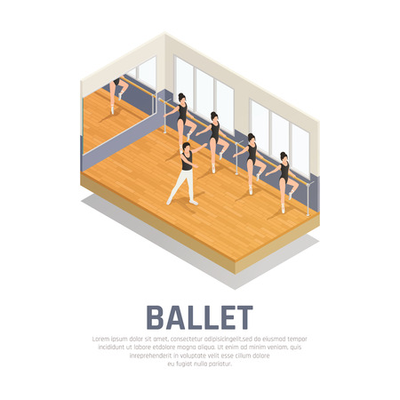 Theatre isometric icons composition with editable text and human characters of ballet dancers in rehearsal hall vector illustration