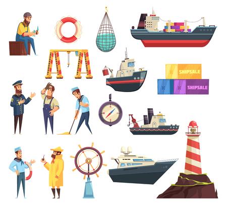 Cartoon set zeilers, kapitein, schepen en nautische elementen, waaronder roer, baken, visnet geïsoleerde vectorillustratie
