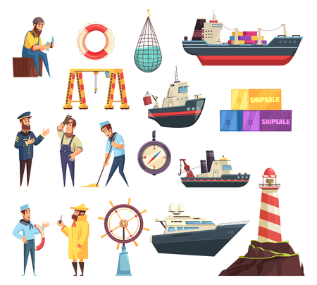 Cartoon set of sailors, captain, ships and nautical elements including helm, beacon, fishing net isolated vector illustration